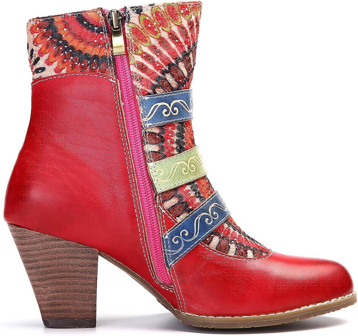 Leather Boots High Block Heel Bohemian Splicing Pattern Side Zipper Toe Bootie gracosy Ankle Booties for Women