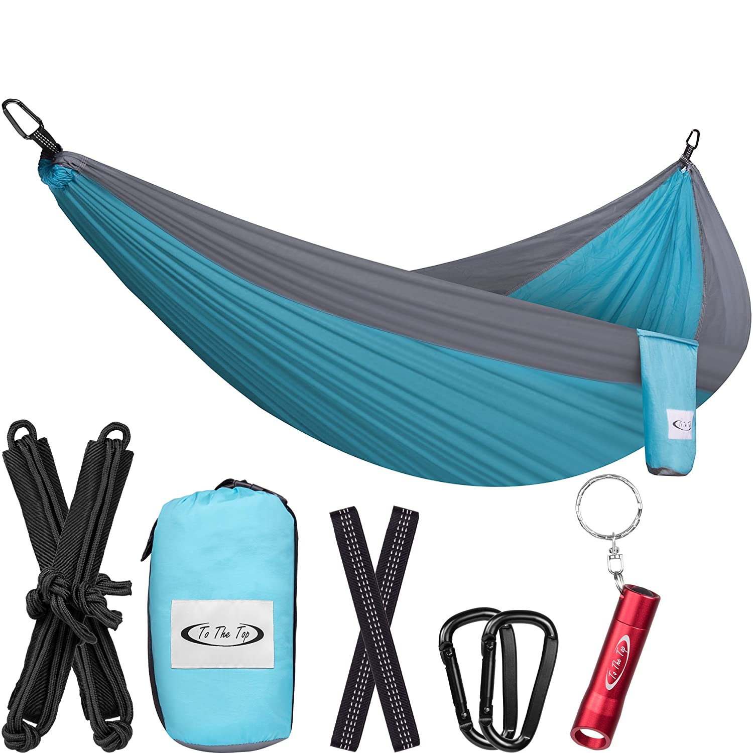 ToTheTop Camping Hammock Outdoor, Hiking, Backpacking, Yard Beach, Lightweight, Compact, Double Size, Portable Breathable Parachute Nylon Hammocks Gear