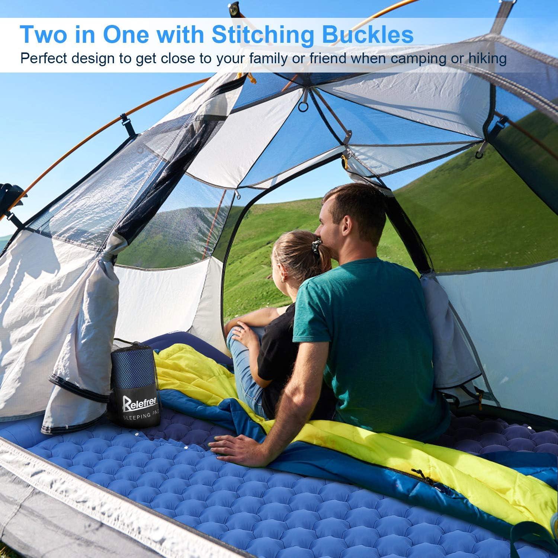 Relefree Colchoneta Camping, Colchón Hinchable Plegable Ultraligero para Acampar con La Almohada, Adecuado para Acampar y Viajar