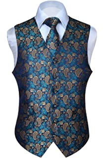 65ac20f067df HISDERN Men's Classic Paisley Floral Jacquard Waistcoat & Necktie and  Pocket Square Vest Suit Set