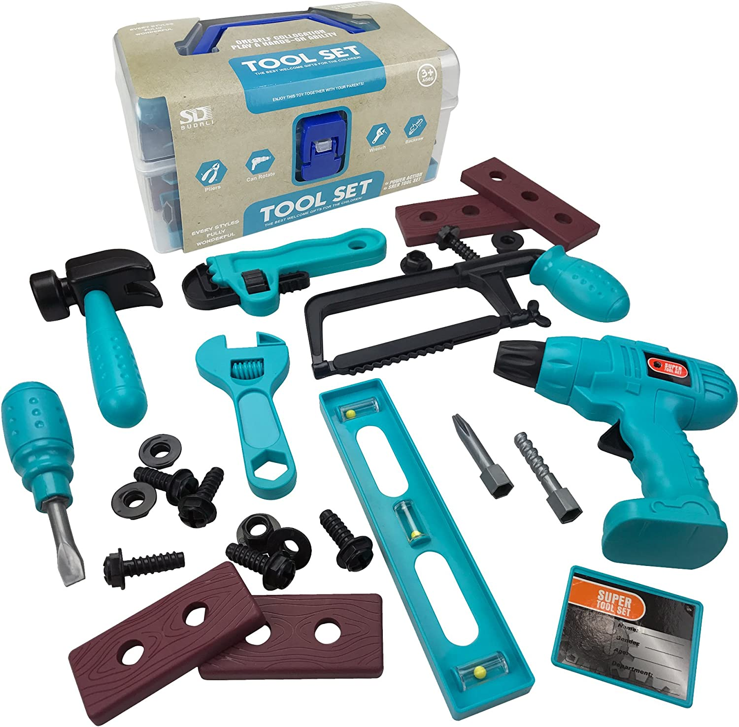Liberty Imports 28-Piece Junior Handyman Pretend Play Toy Tool Box with Realistic Drill and Construction Power Tools Accessories