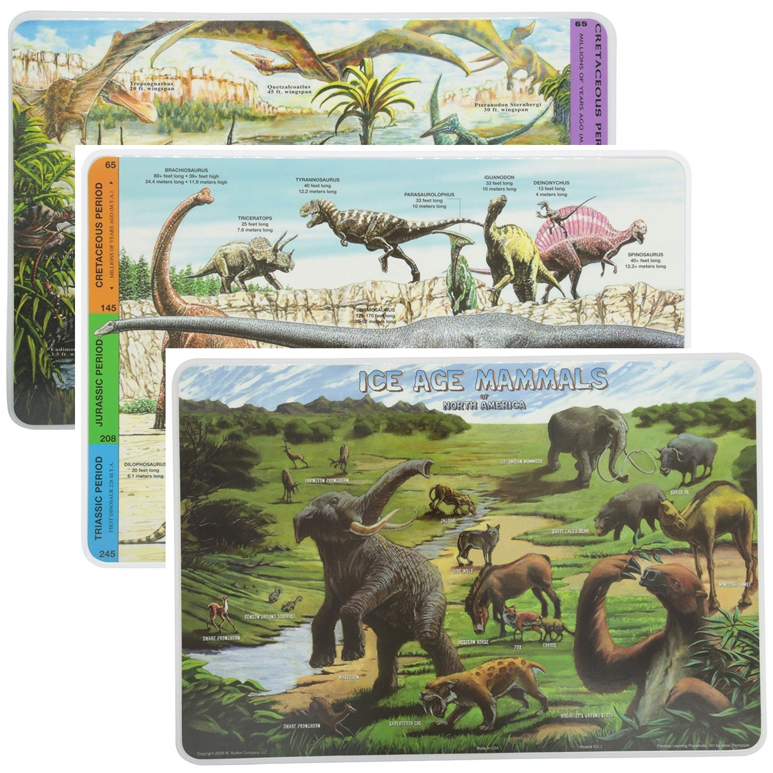 Painless Learning Educational Placemats Sets Ice Age Mammals Dinosaurs and Pterosaurs Placemat Non Slip Washable