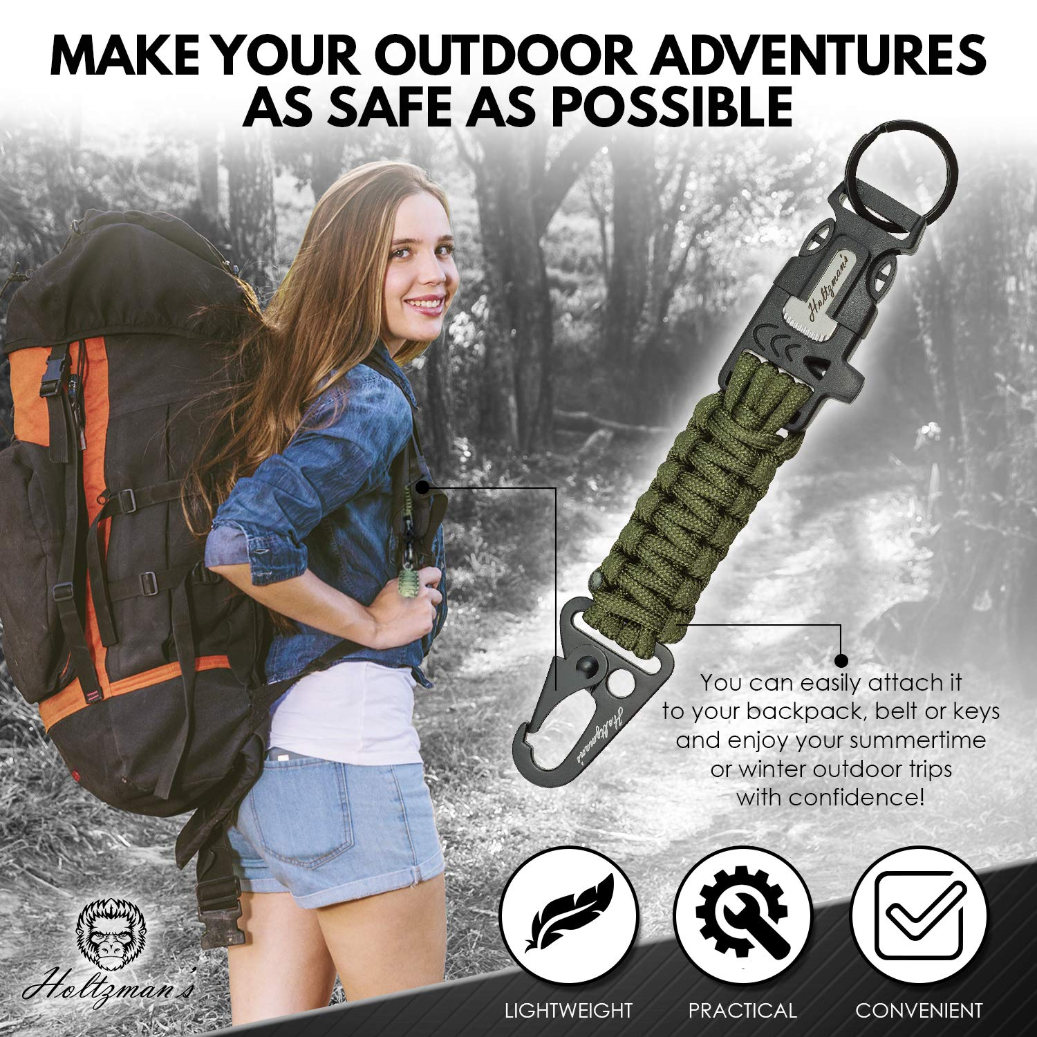 Ultimate 5-in-1 Paracord Keychain with Carabiner for Camping, Fishing, Hunting & Outdoor Emergencies | Multipurpose Survival Tool with Paracord, Emergency Whistle, Flint Rod, Cutting Tool & Key by Holtzman's Gorilla Survival (Image #3)