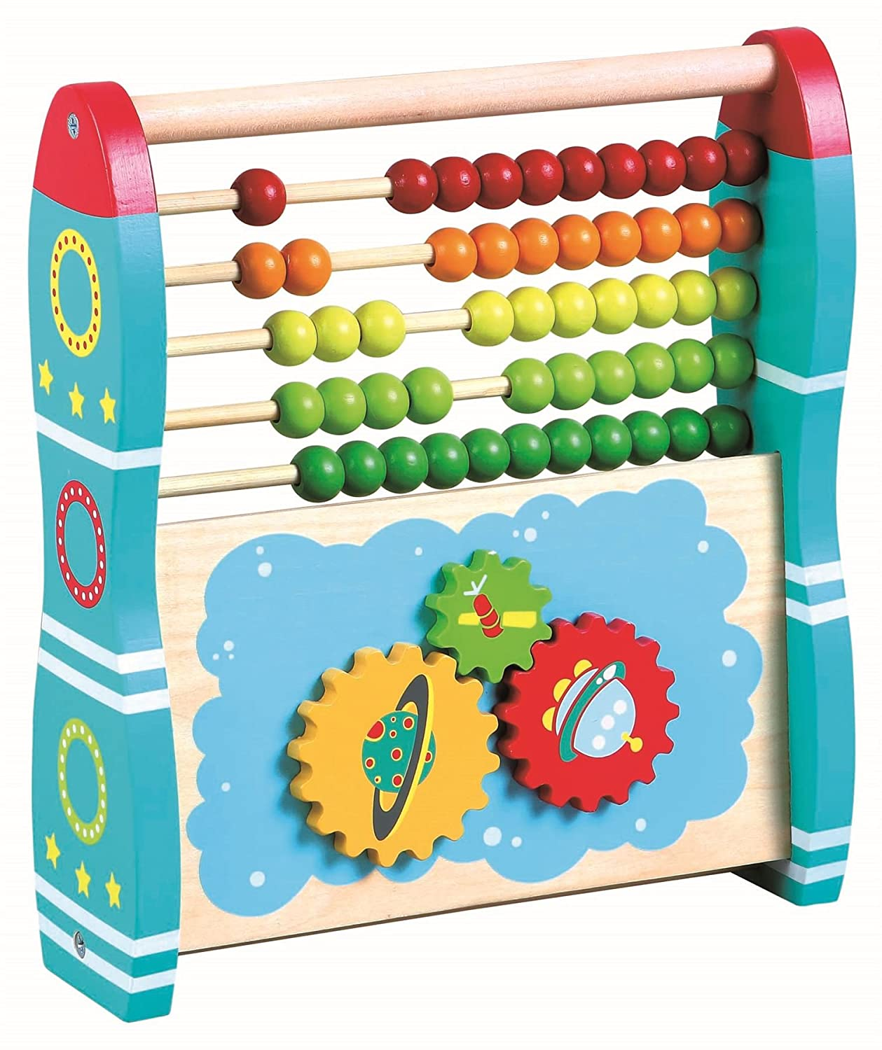 Lelin Wooden 2 in 1 Abacus Rocket Childrens Kids Learning Number Abacus 0003974