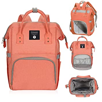 232e8d31ab Amazon.com   Diaper Bag Travel Backpack Large Capacity Multi-Function  Waterproof Nappy Bags for Baby Care Durable Nursing Bag for Mummy (Orange)    Baby