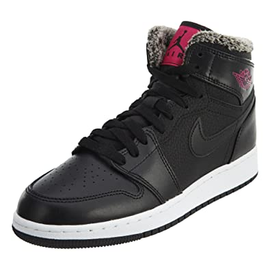 san francisco f0533 fb070 Jordan Retro 1 High Black Deadly Pink-White (Big Kid) (8.5