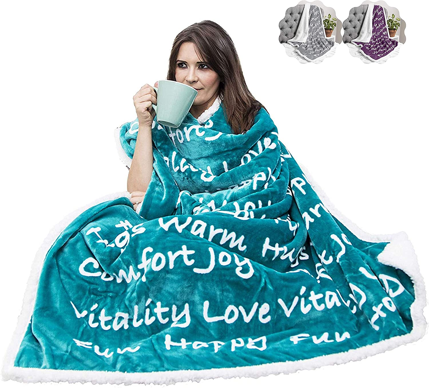 Thick Sherpa Fabric Encouragement and Positive Energy Sleep and Recovery Healing Thoughts Throw Blanket Cancer Patients Purple Warm Get Well Gift for Men and Women