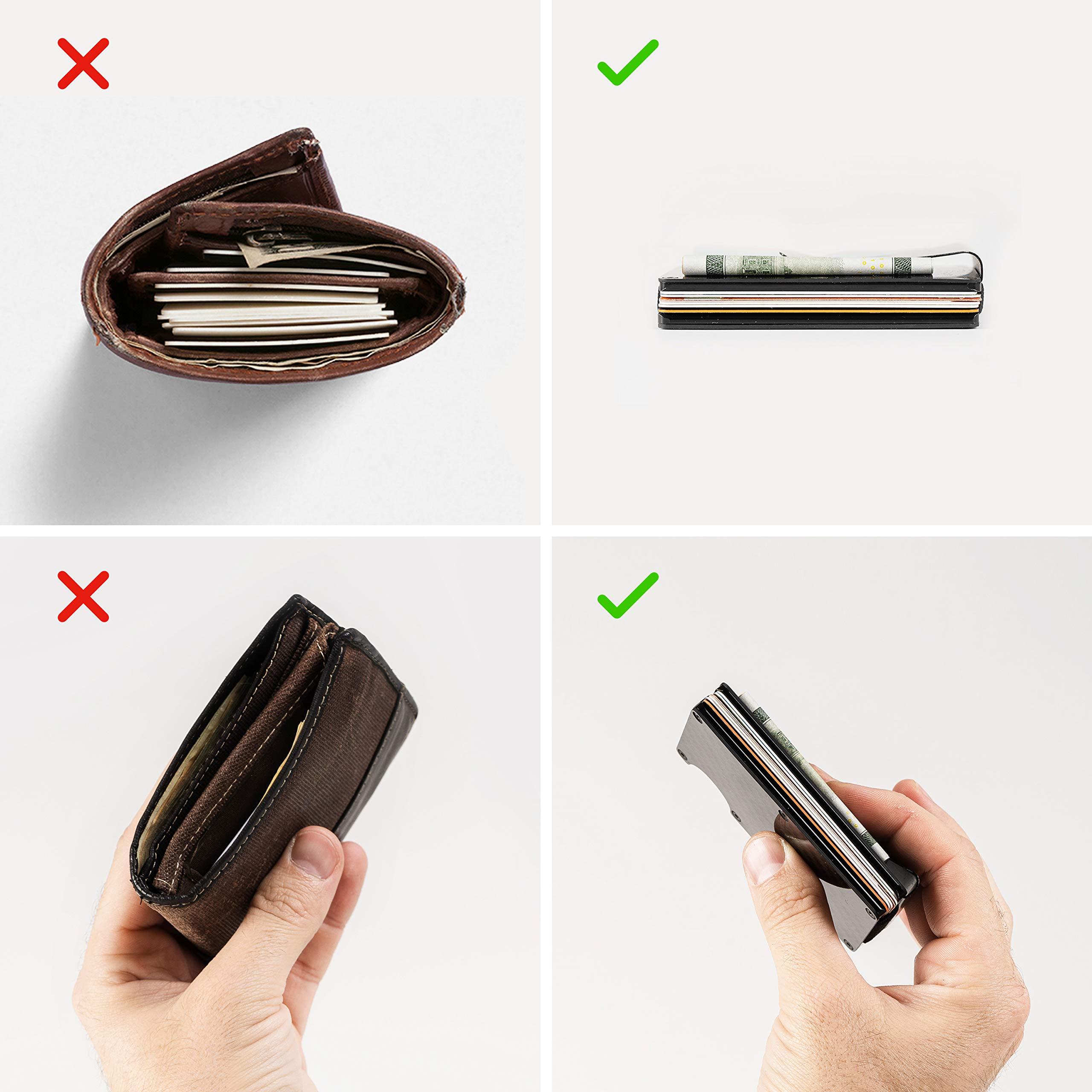 Aluminum Credit Card Wallet Rfid Carbon Fiber Money Clip Wallet Mens Minimal