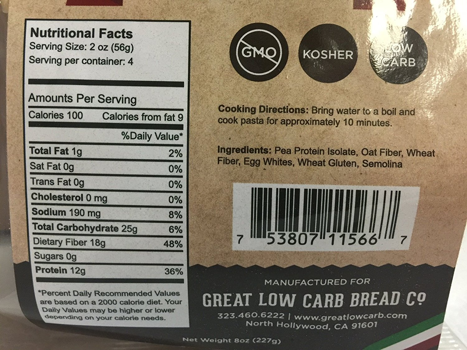 4 Pack Assortment Low Carb Pasta, Fettuccine, Rotini, Penne, and Elbows, Great Low Carb Bread Company