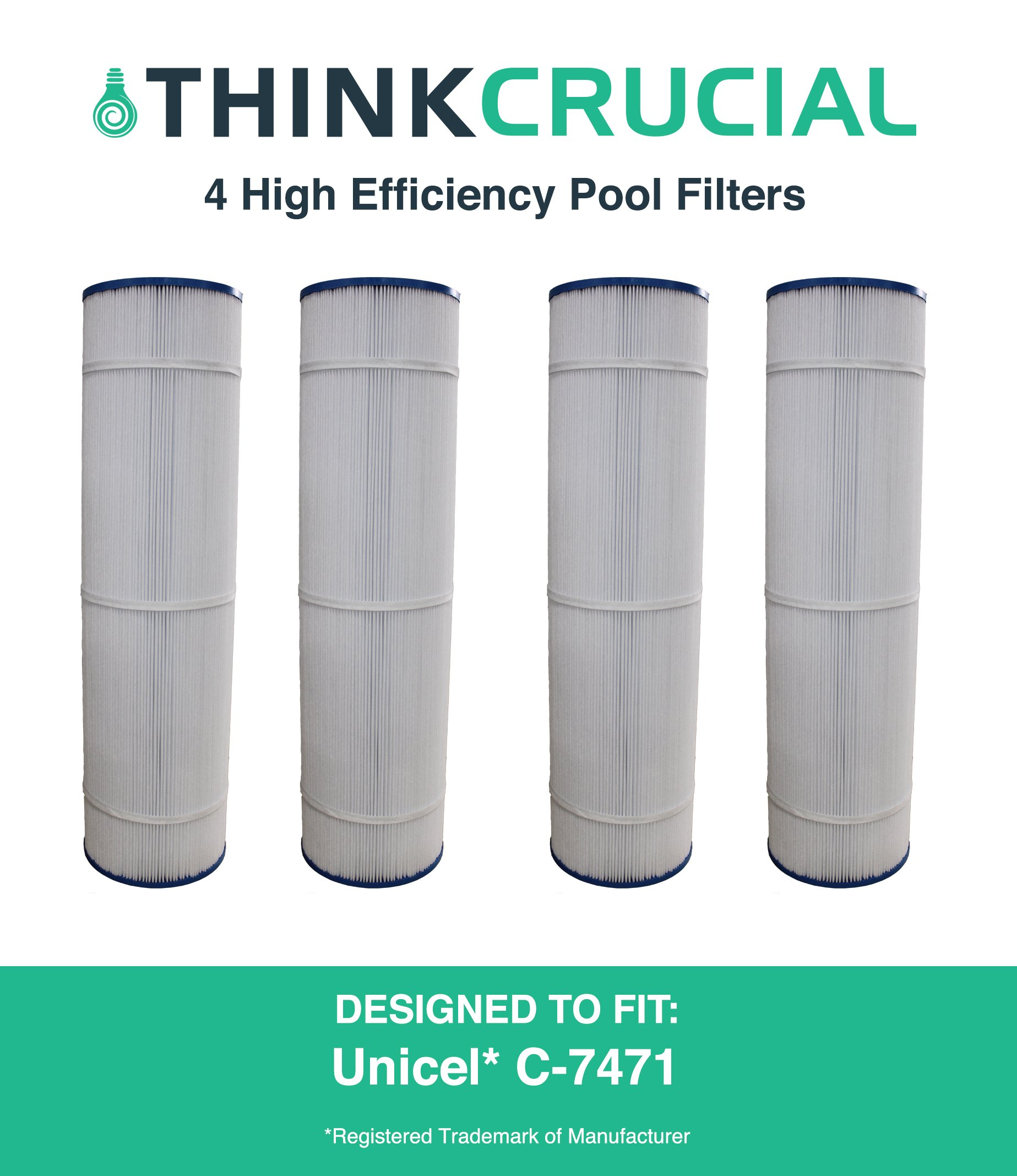 4 Replacements for Unicel Pool Filter Fits C-7471, Pleatco PCC105 & Filbur FC-1977, by Think Crucial