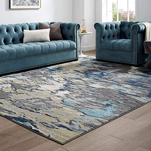 Amazon Com Modway Entourage Foliage Contemporary Modern Abstract Area Rug 8x10 Blue Tan Gray Furniture Decor