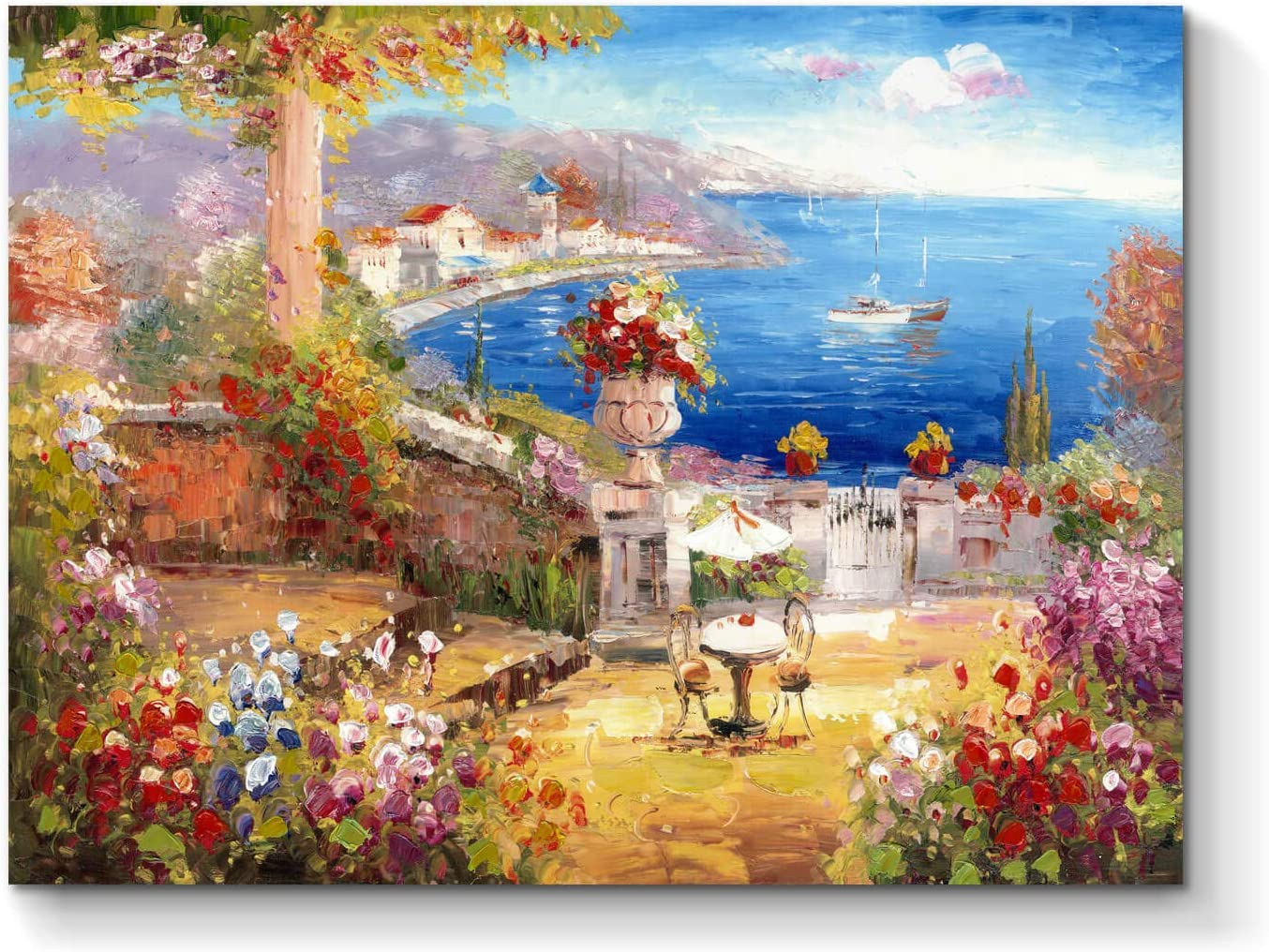 Abstract Picture Canvas Wall Art: Seaside Village Hand Painted Artwork Painting on Canvas for Living Room (24'' x 18'' x 1 Panel)