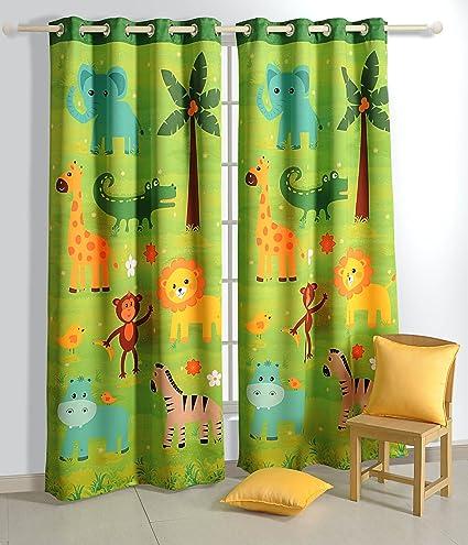 Blackout Polysatin Window Curtains For Kids Rooms  Safari Fun  Set Of 2  Curtain Panels