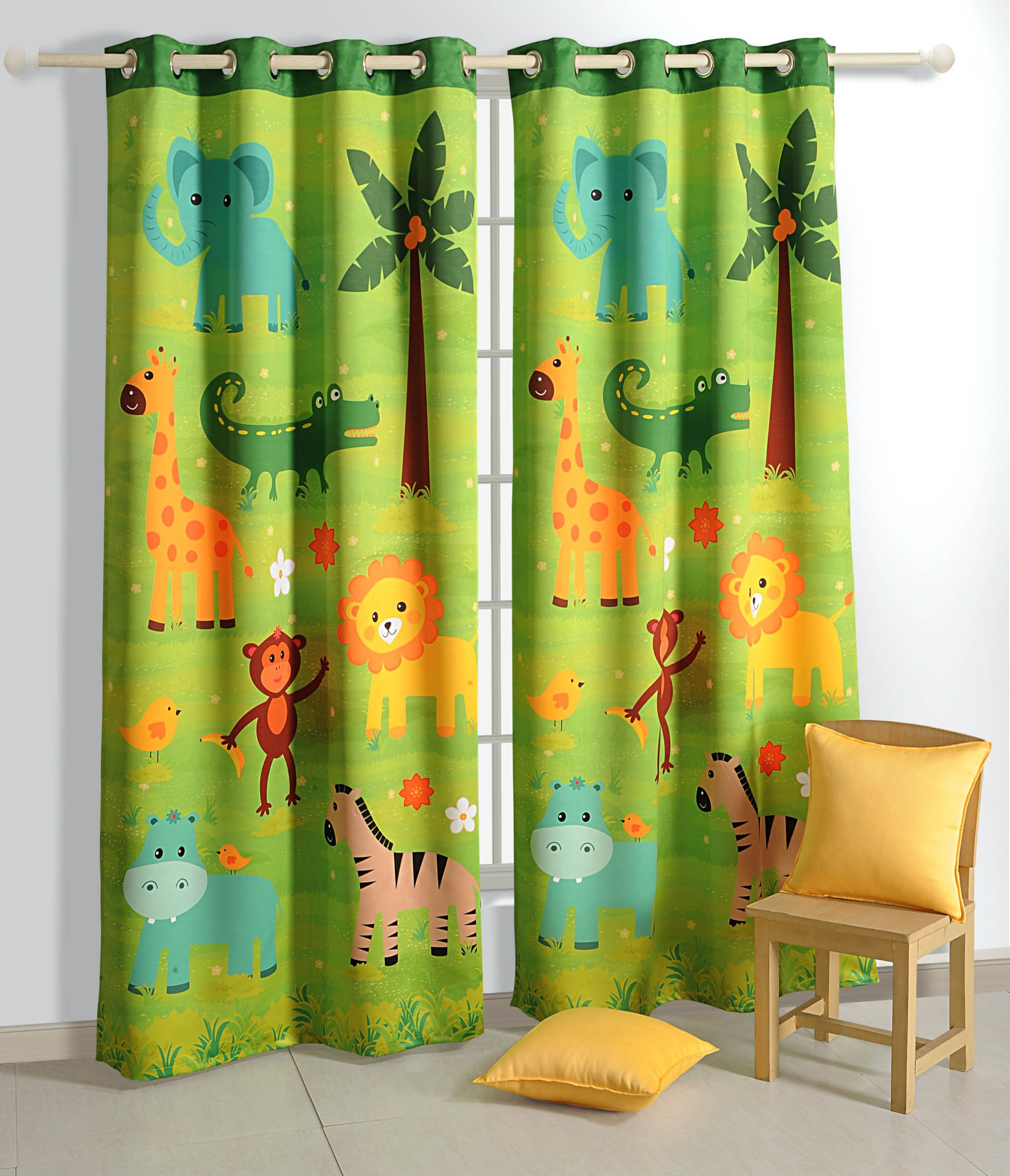 Blackout Polysatin Window Curtains for Kids Rooms -Safari Fun- Set of 2 Curtain Panels with Silver Grommets 48 Inch x 60 Inch