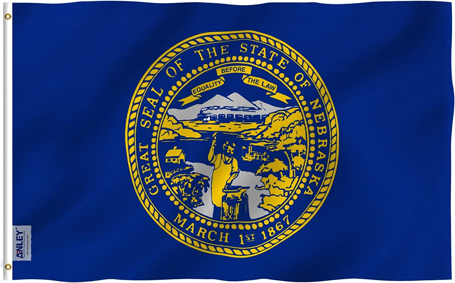 Anley Fly Breeze 3x5 Foot Nebraska State Flag - Vivid Color and Fade Proof - Canvas Header and Double Stitched - Nebraska NE Flags Polyester with Brass Grommets 3 X 5 Ft