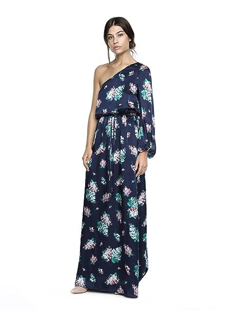 Caramelo Vestido Escote Asimetrico Largo, Mujer · Azul Marino, Talla 62
