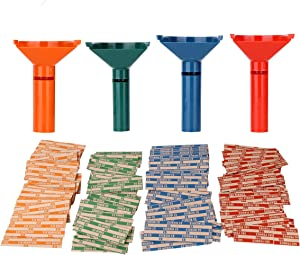 Coin Counters & Coin Sorters Tubes Bundle of 4 Color-Coded Coin Tubes and 100 Assorted Coin Wrappers