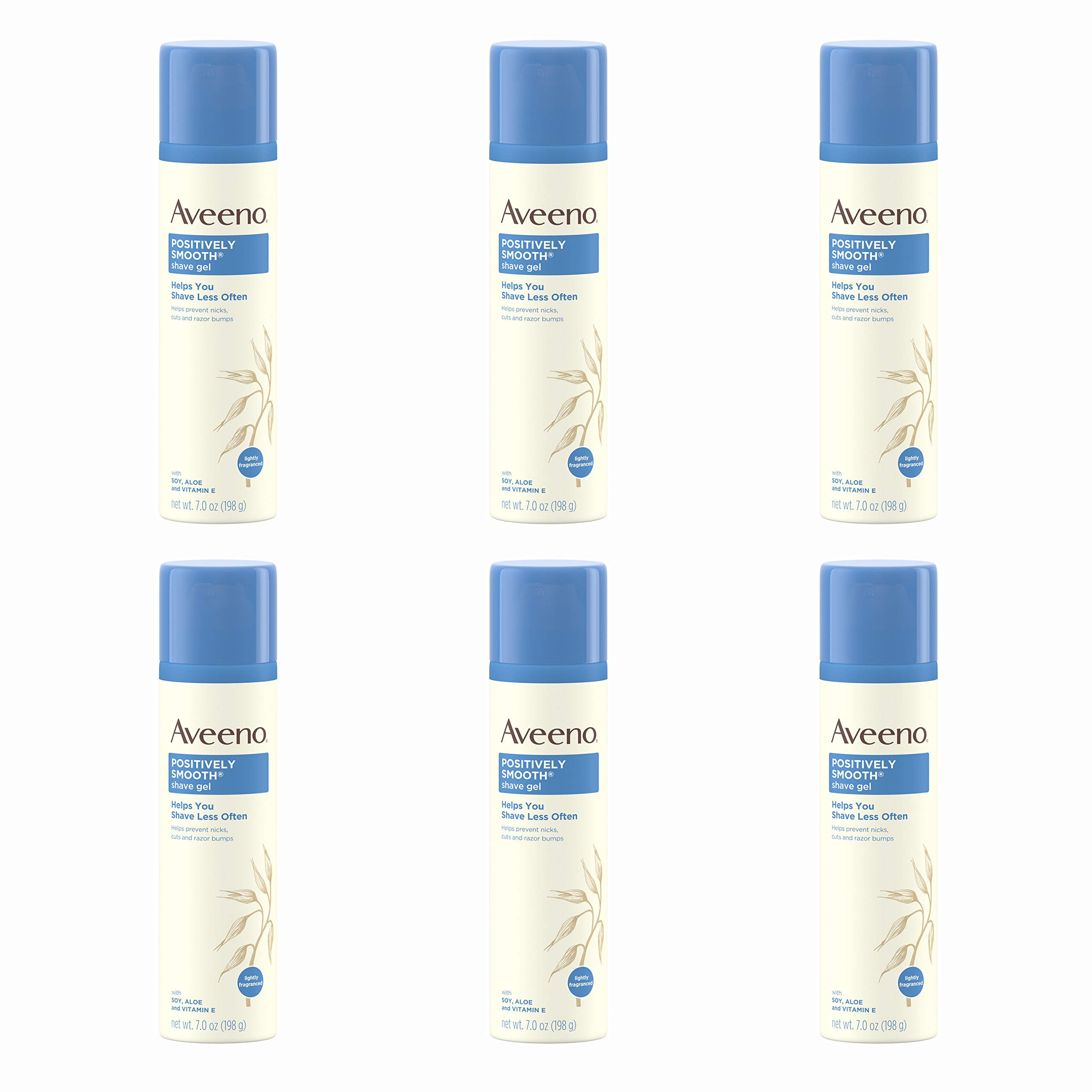 Aveeno Positively Smooth Moisturizing Shave Gel with Soy, Aloe, and Vitamin E to help Prevent Nicks, Cuts and Razor Bumps, Lightly Fragranced, 7 oz (Pack of 6) by Aveeno