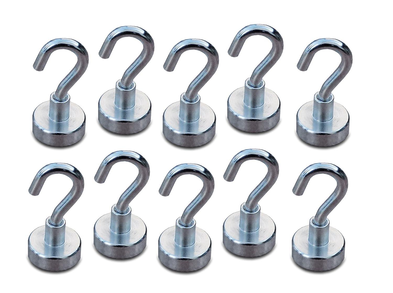 Perfektes Set aus 10 starken Neodym Magnethaken (D20mm Durchmesser, Haftkraft 8,5 Kg) mit vielseitigem Einsatzbereich (Kü hlschrankmagnet, Handtuchhalter, Schlü sselhalter, uvm.) UschiOl