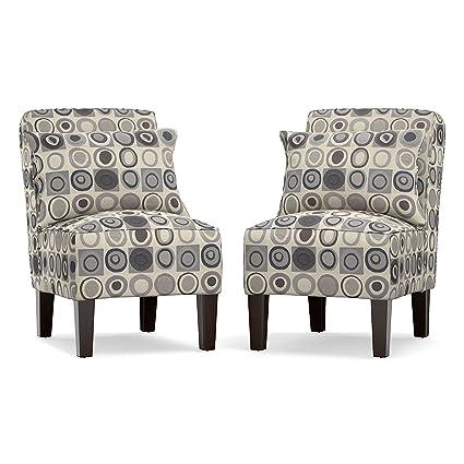 Swell Amazon Com Domesis Armless Accent Chair Set In Gray Black Machost Co Dining Chair Design Ideas Machostcouk