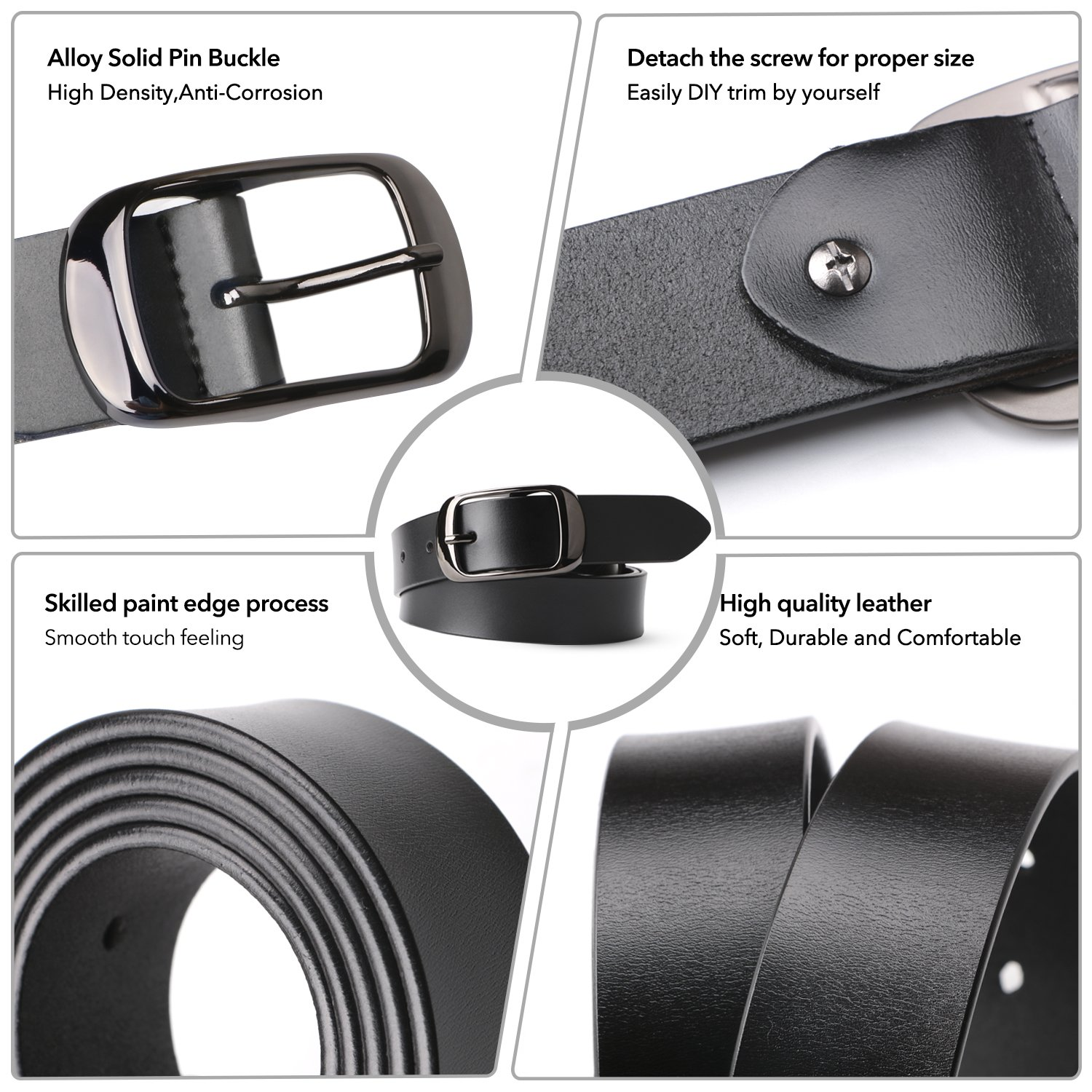 Women Leather Belt Ladies Black Waist Belt for Jeans Pants Dresses Small Size Elegant Gift Box by JASGOOD (Image #2)