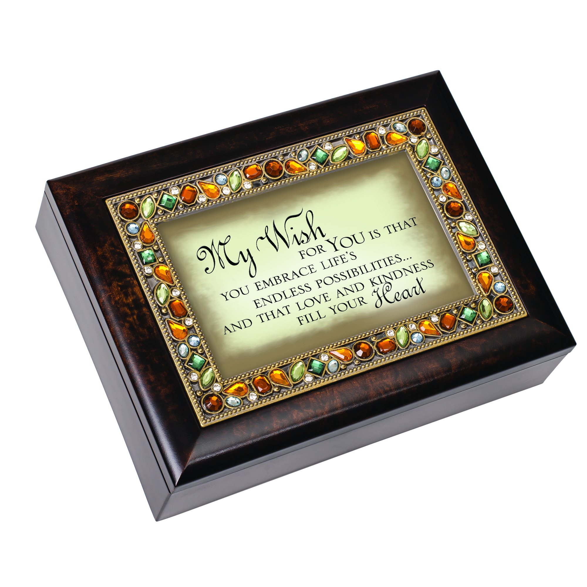 Cottage Garden My Wish for You Italian Style Burlwood Finish Decorative Jewel Lid Musical Jewelry Box - Plays Edelweiss