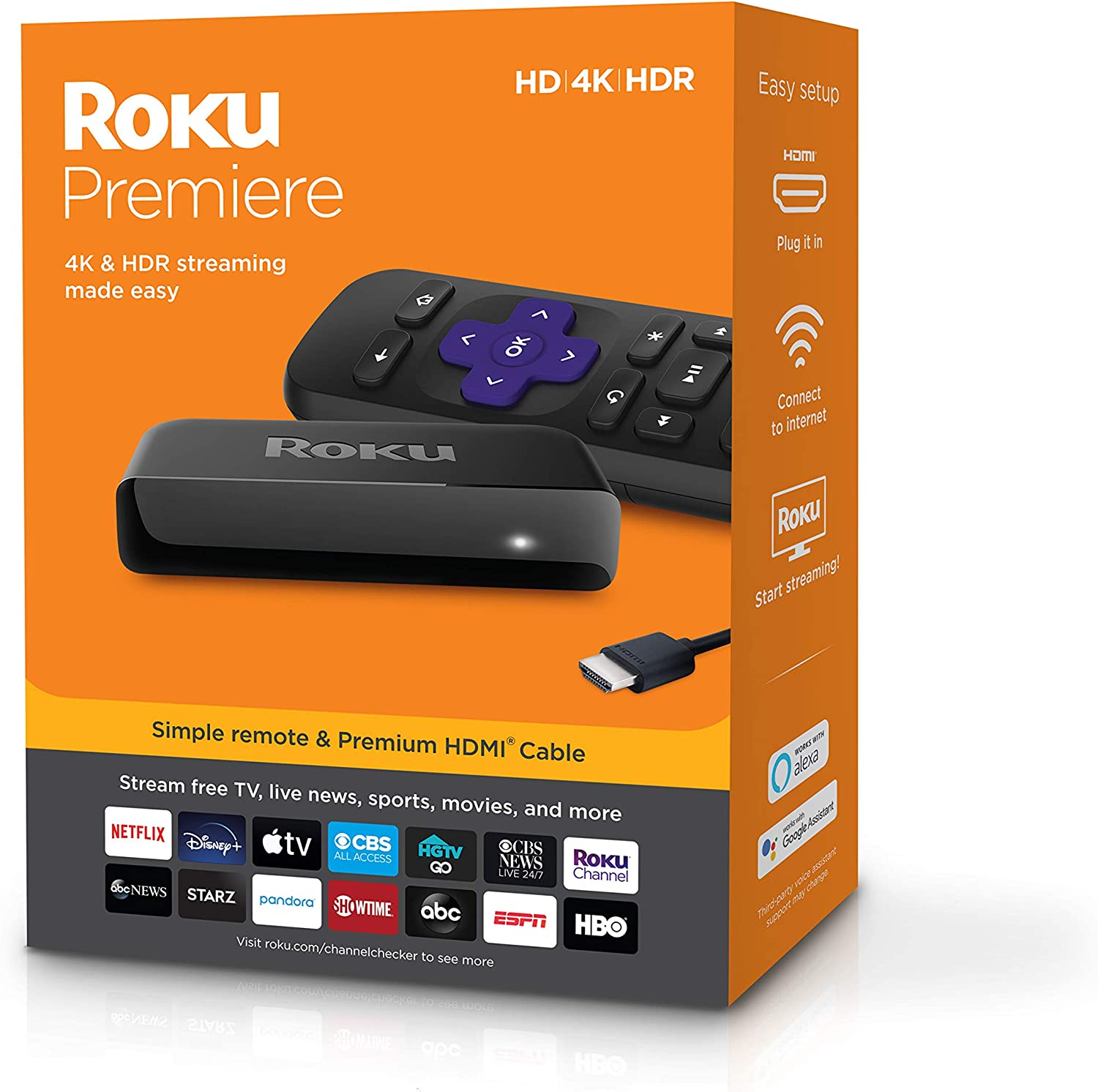 Roku Premiere | HD/4K/HDR Streaming Media Player, Simple Remote and Premium HDMI Cable: Electronics