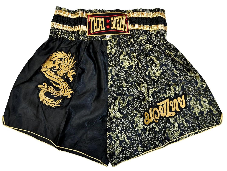 Nero//Dorato 42581 Fabbricato ed Importato della Tailandia wifash Pantaloncini di Boxe Tailandese Taglia L Muay Thai