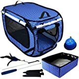 """Pet Fit For Life Large (32""""x19""""x19""""), Medium (24""""x16""""x15"""") Collapsible/Portable Cat Cage/Condo Plus Bonus Cat Feather Toy and"""