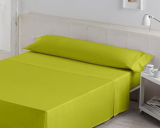 ESTELA - Juego de sábanas Liso - Color Pistacho - Cama de 150 cm. - 50% Algodón / 50% Poliéster - 132 Hilos: Amazon.es: Hogar