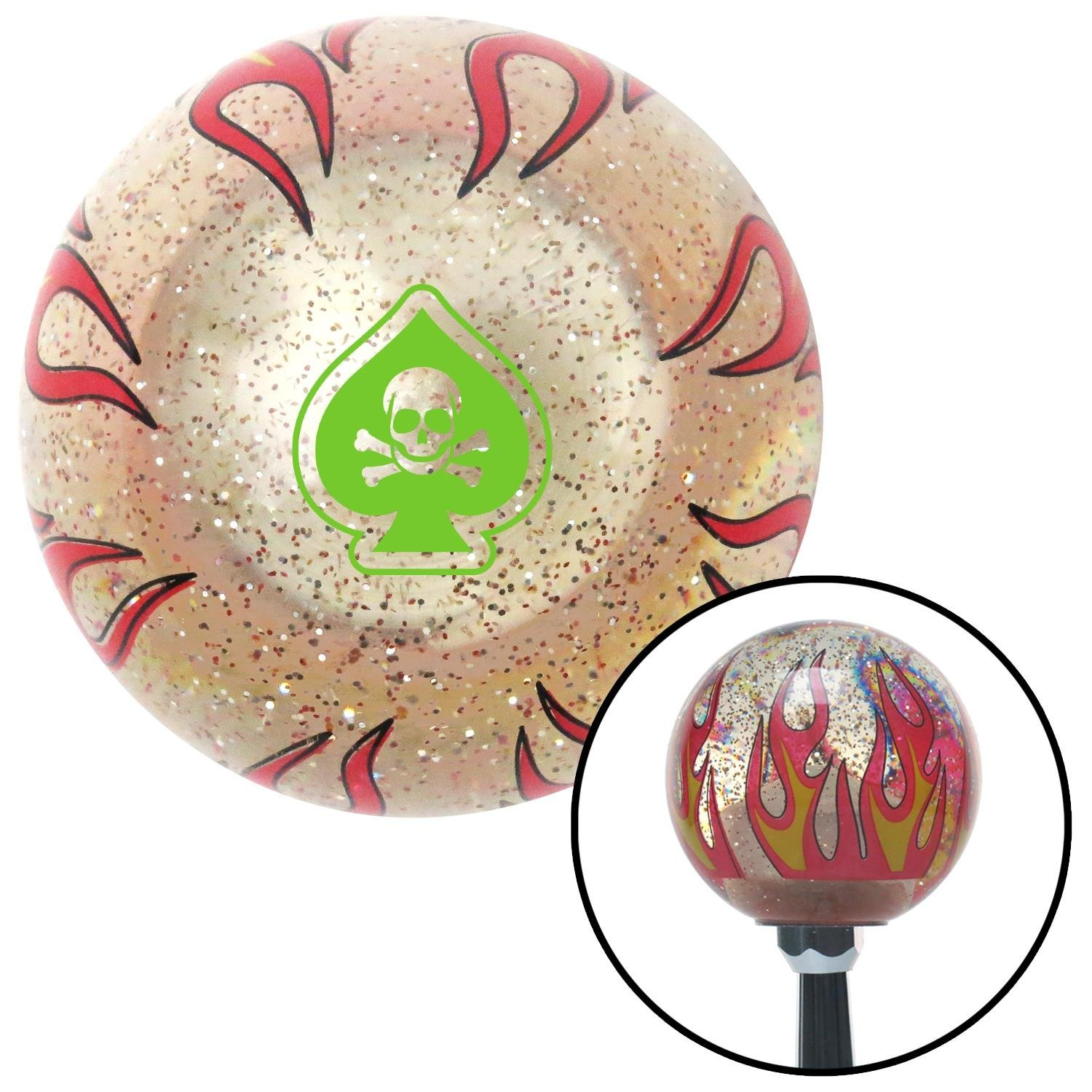 American Shifter 296118 Shift Knob Green Spade Skull Clear Flame Metal Flake with M16 x 1.5 Insert
