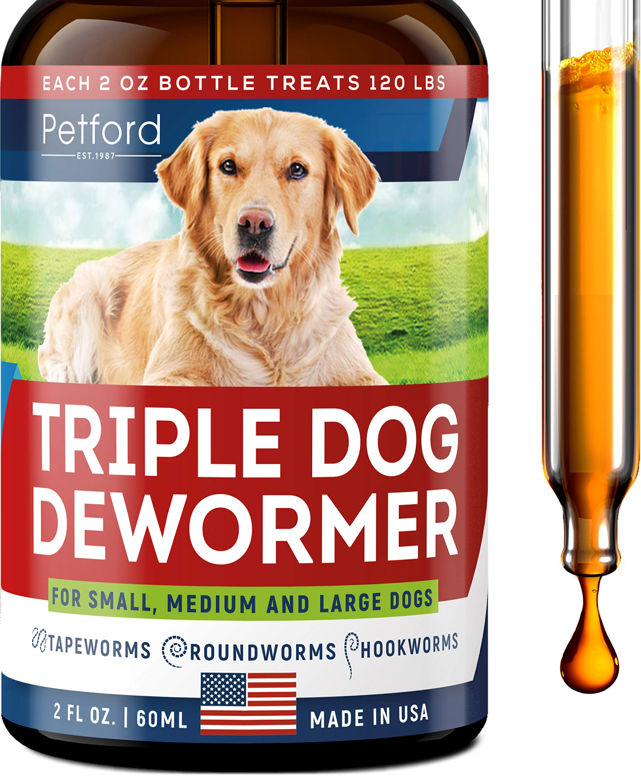 Triple Dog Dewоrmer - Made in USA - Dewоrmer for Puppies, Small & Large Breeds - Wоrm Treatment - Powerful Canine Dewоrmer for Hookwоrm, Roundwоrm & Tapewоrm - Liquid Dog Wоrmer with MAX Absorption by Petford est. 1987