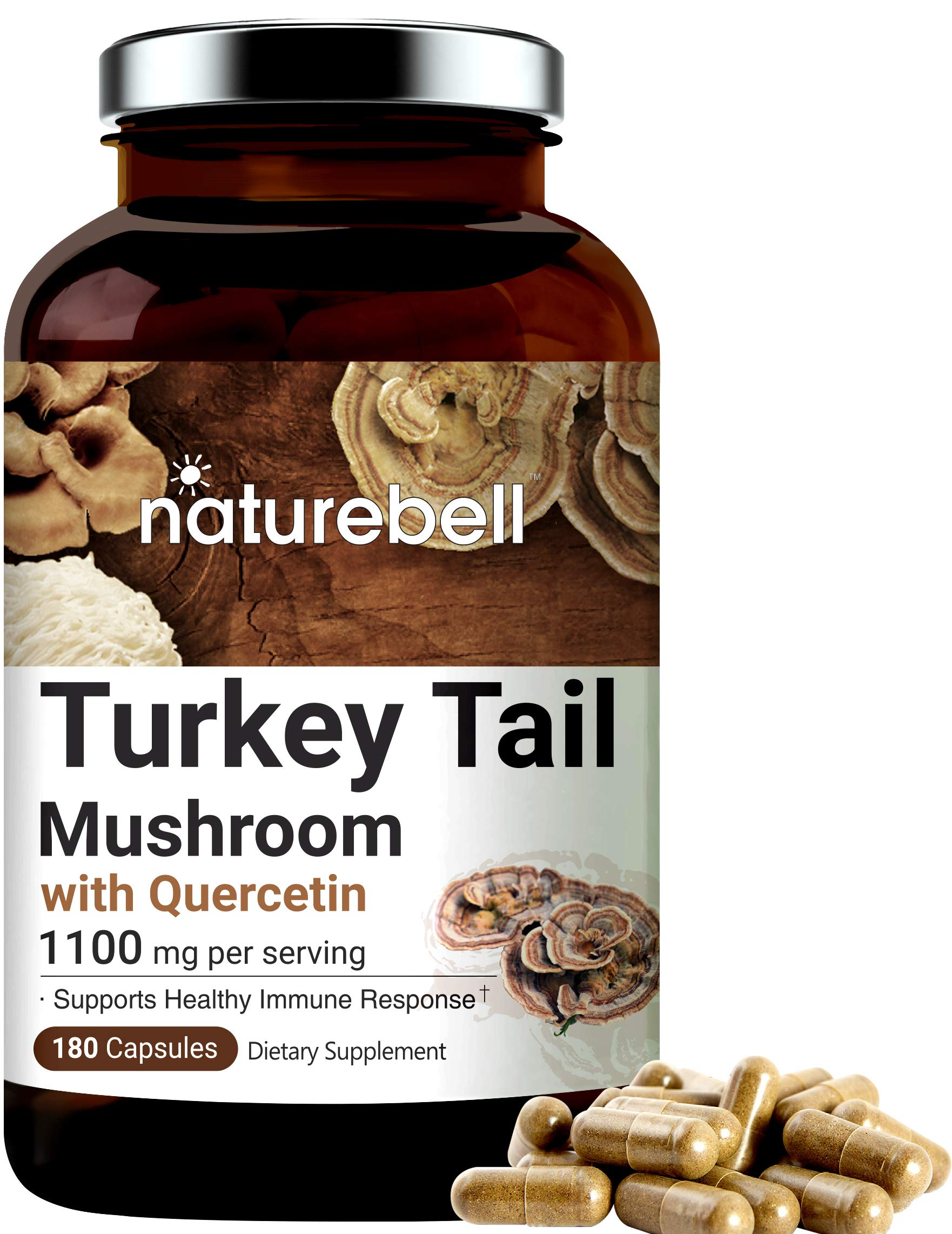 NatureBell Turkey Tail Capsules, 1100mg Turkey Tail Plus 20mg Quercetin Per Serving, 180 Counts, Powerfully Supports Positive Mood, Mind and Promote Healthy Nervous System and Immune System