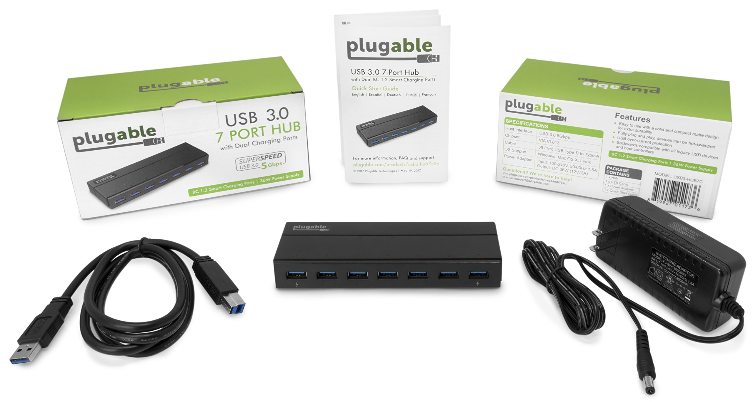 Plugable 7 Port USB 3.0 Hub with 36W Power Adapter by Plugable (Image #4)