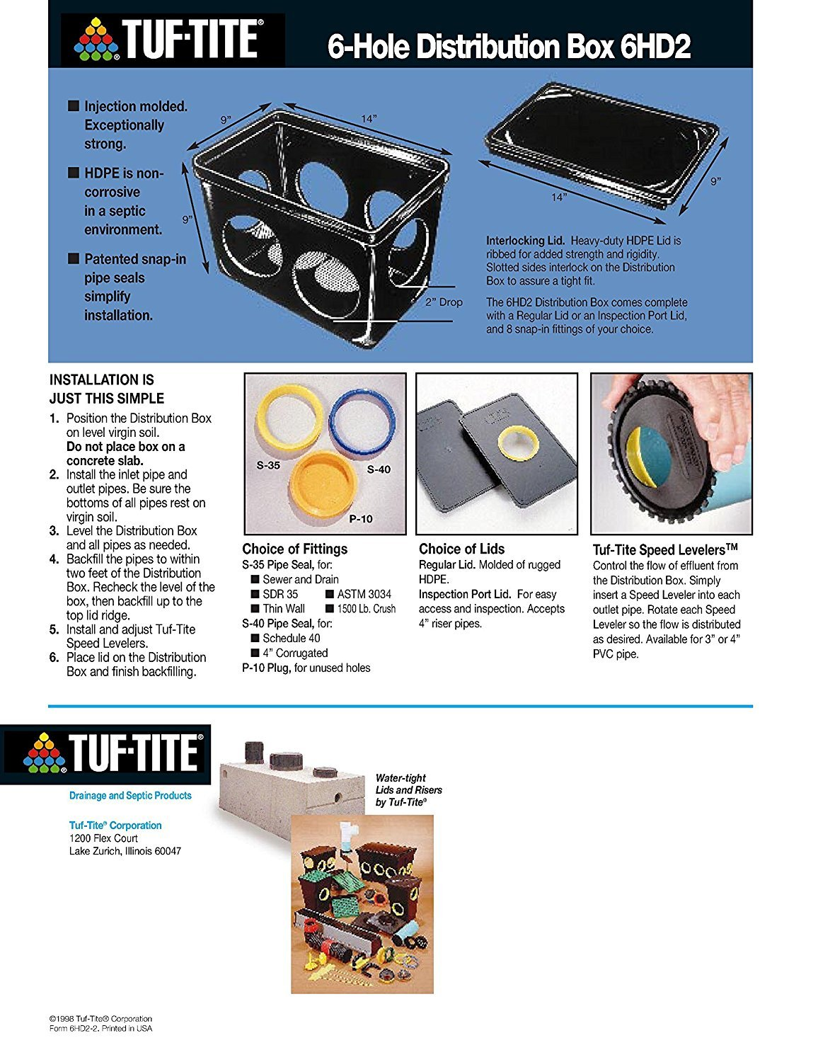Tuf-Tite 6 Hole Drain Distribution Box with Lid and Seals by Tuf-Tite