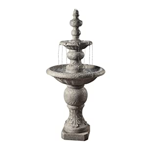 "Peaktop - VFD8179 Outdoor Fountain, 2 Tier ICY Stone Waterfall Fountain, Light Grey, 53"" Height"
