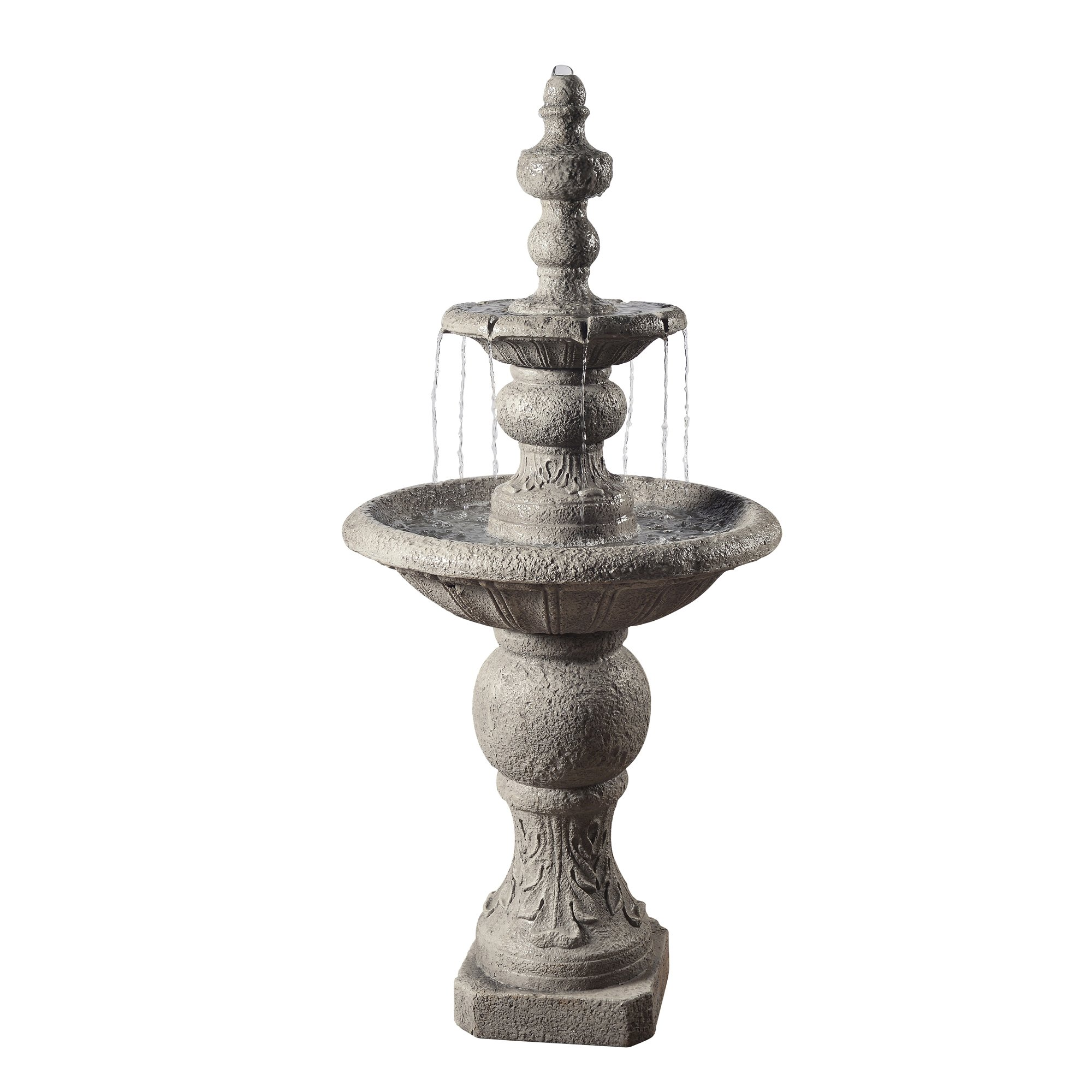 Peaktop - Outdoor Icy Stone 2-Tier Waterfall Fountain