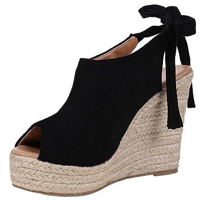 ab7abbfec Syktkmx Womens Espadrille Platform Wedge Heel Peep Toe Ankle Strap  Slingback Suede Sandals Black