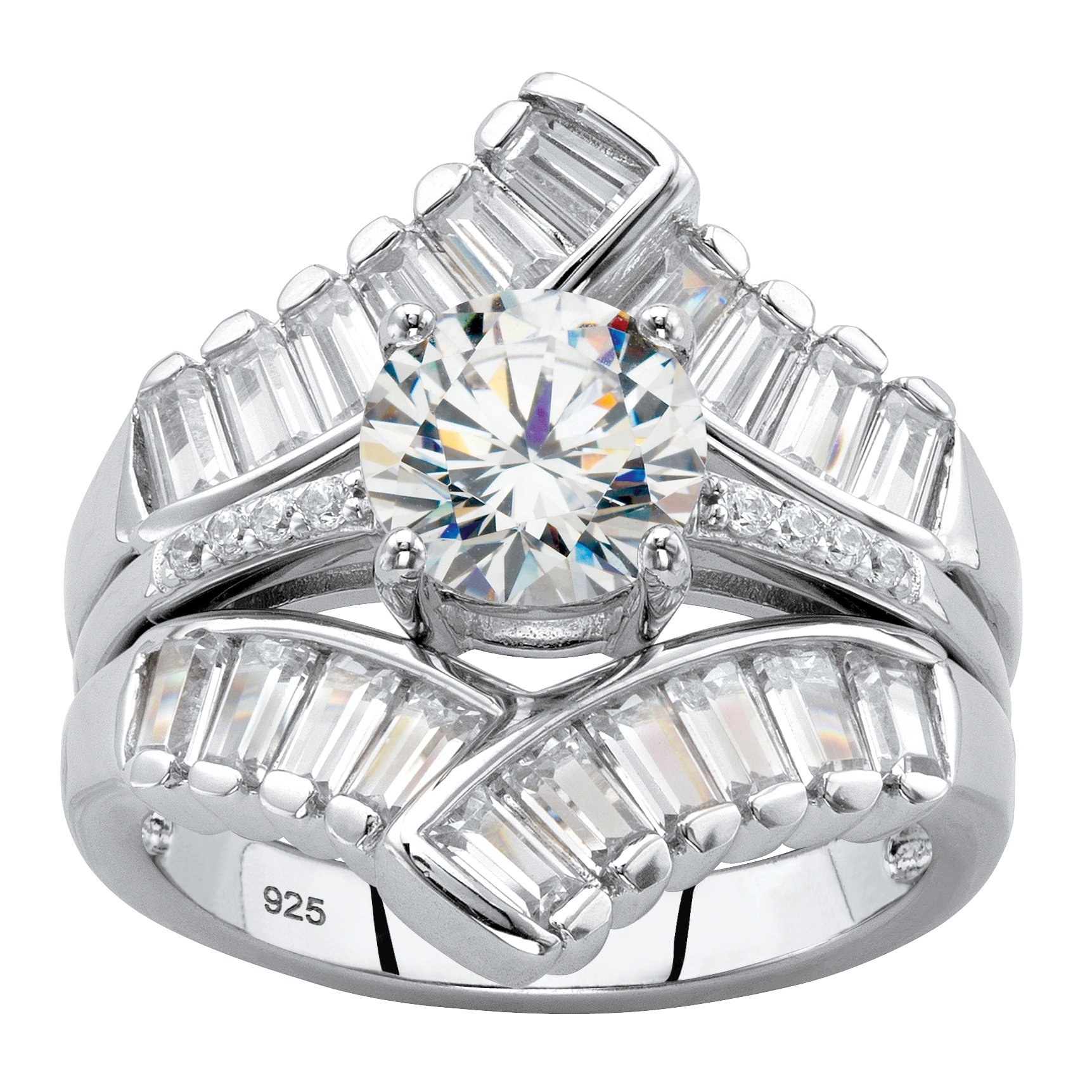 Platinum over Sterling Silver Round and Baguette Cubic Zirconia Jacket Bridal Ring Set Size 7
