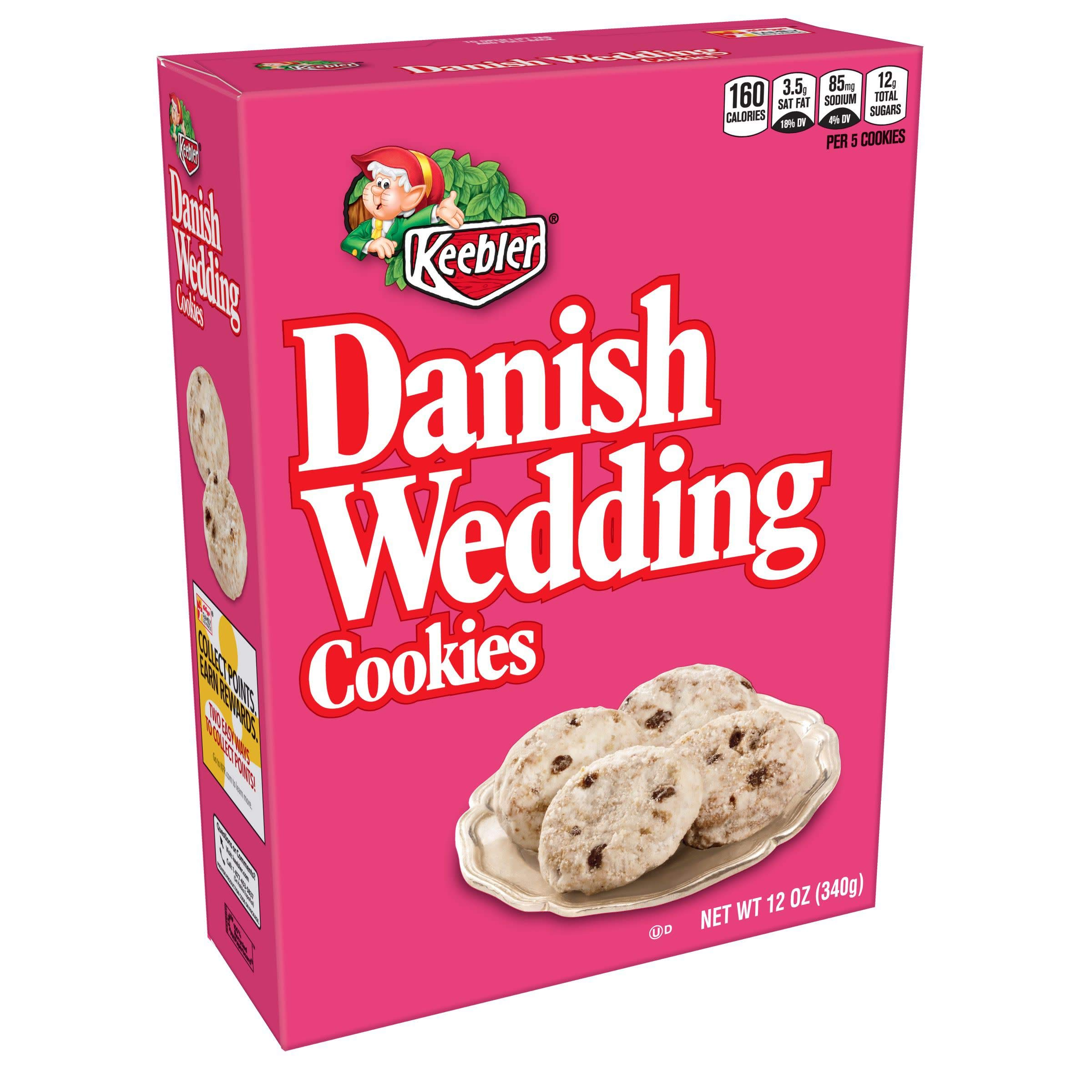 Keebler Cookies,Danish Wedding, Flavors of Coconut and Chocolatey Chips, 12 oz Box(Pack of 4)