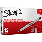 Sharpie Permanent Markers, Ultra Fine Point, Black, 12-Count