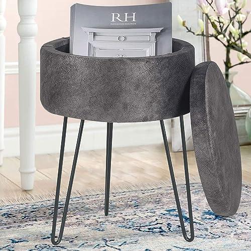 Asense Round Ottoman Foot Rest Stool Fabric Upholstered Padded Seat Pouf Ottoman Fabric Grey