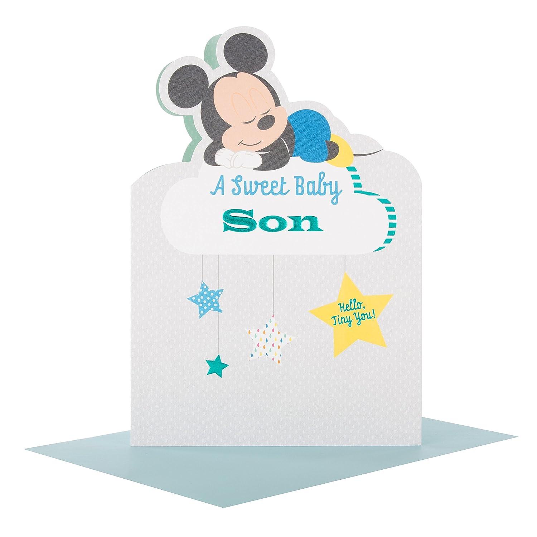 Hallmark 25490492/MediumSweet Son Mickey Mouse New Baby card
