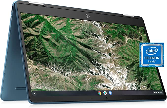"""Laptop HP X360 14a Chromebook 14"""" HD Touchscreen, Entertaining from Any Angle Intel Celeron, 4GB DDR4 64GB eMMC WiFi Webcam Stereo Speakers Bluetooth 4.2 Chrome Blue Metallic Color (Renewed) 