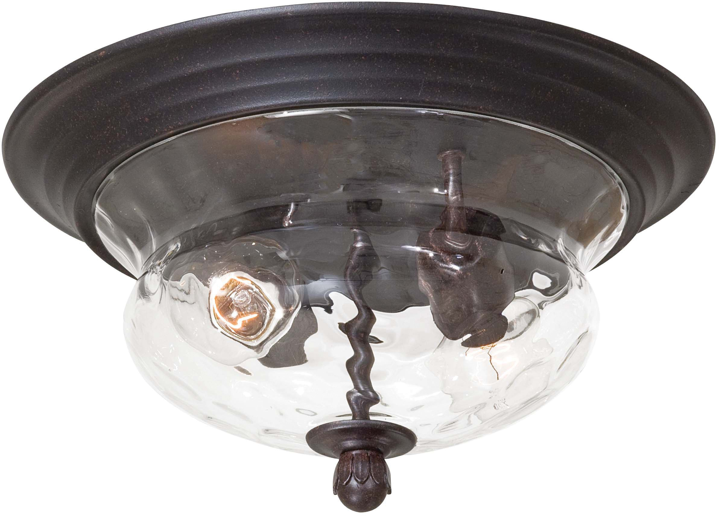 Minka Lavery Outdoor Ceiling Lighting 8769-166, Merrimack Cast Aluminum Flush Mount, 120 Watts, Bronze
