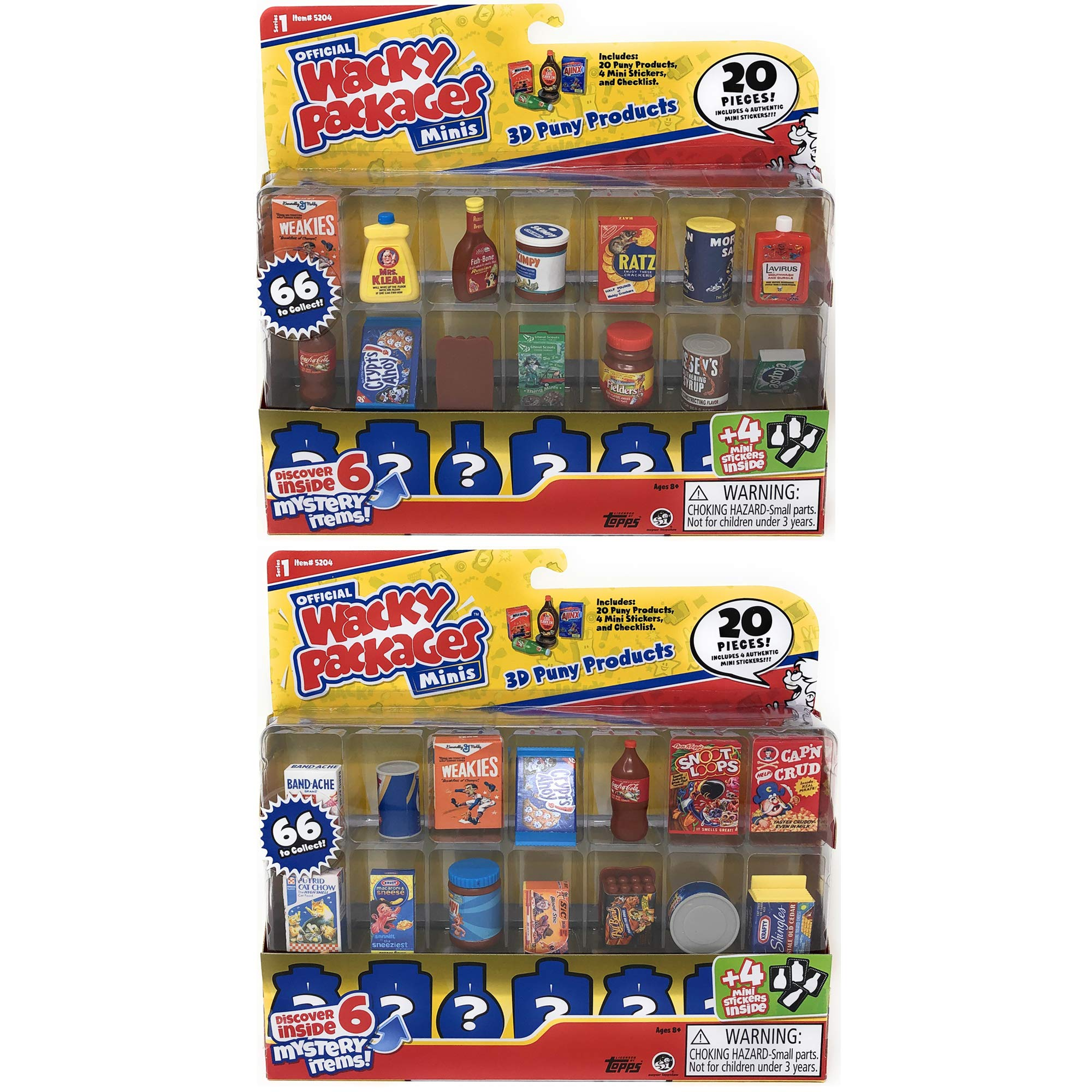 Wacky Packages Minis Series 1 - 20 Pc Display Pack Bundle of 2 - 40 Pieces Total