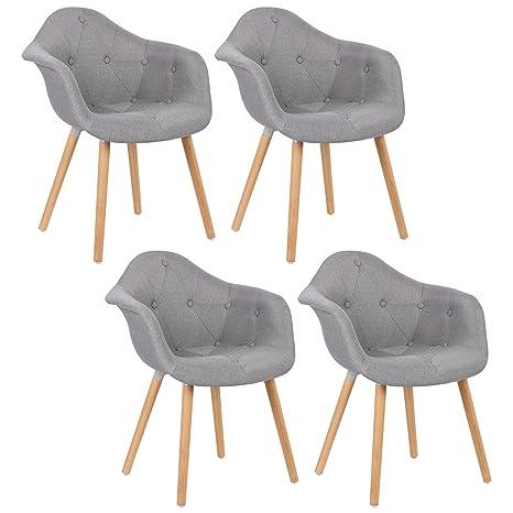 Woltu® # 783 4 x sillas de comedor Juego de 4 Silla de comedor con ...