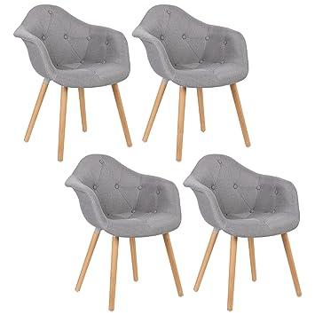Woltu Lot De 4 Chaises De Salle A Manger Design Moderne Chaises Loisirs En Lin Assises Bh55gr 4 Gris