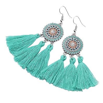 Amazon Com Tassel Fringe Earrings Handmade Embroidery Thread Beaded