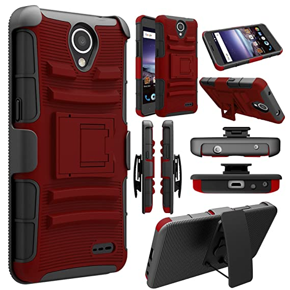 great fit c1235 bb202 Elegant Choise Compatible with ZTE Prestige 2 Case, ZTE N9136 Case, Hybrid  [Heavy Duty] Armor Shockproof Holster Kickstand Protective Case Cover with  ...